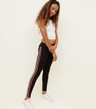 New Look Girls Black Double Contrast Stripe Leggings