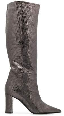 Marc Ellis snakeskin effect knee high boots