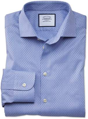 Charles Tyrwhitt Slim Fit Business Casual Mid-Blue Square Pattern Egyptian Cotton Dress Shirt Single Cuff Size 14.5/32