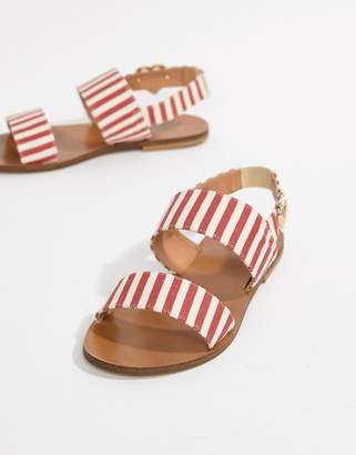 Love Moschino Stripe Flat Sandals