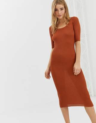 Brave Soul christie ribbed sweater dress in rust