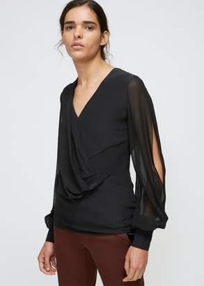 Lanvin V-Neck Sheer Sleeve Blouse