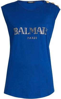 BALMAIN Logo-print cotton-jersey tank top $160 thestylecure.com