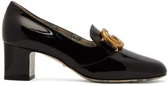 Gucci GG Marmont patent-leather block-heel loafers