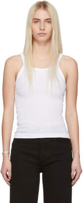 RE/DONE White Ribbed Tank Top