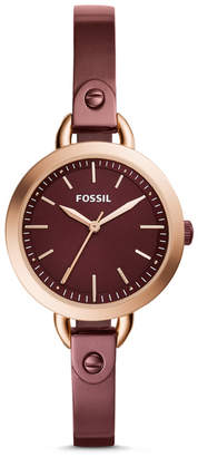 Fossil Classic Minute Three-Hand Wine Stainless Steel Watch
