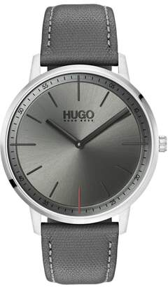 HUGO Exist Leather Strap Watch, 40mm