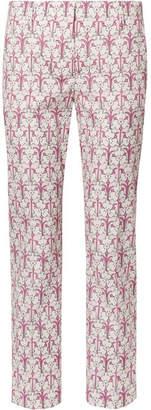 Prada - Iris Printed Cotton-blend Poplin Skinny Pants - Pastel pink