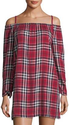 Neiman Marcus Off-The-Shoulder Long Sleeve Dress