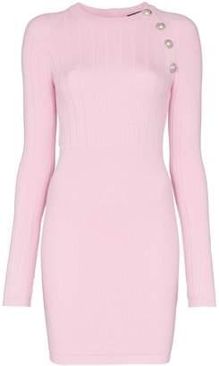 Balmain button embellished knit mini dress