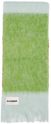 Jil Sander Green Tricolor Scarf