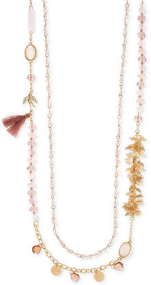 lonna & lilly Gold-Tone Multi-Stone Tassel Double Strand Necklace