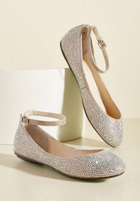 Betsey Johnson Footwear Dazzling Demeanor Flat in Champagne $98.99 thestylecure.com