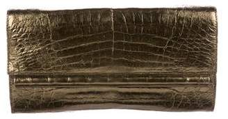 Nancy Gonzalez Metallic Crocodile Flap Clutch