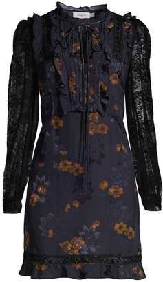Coach Meadow Floral Ruffle Lace Sleeve A-Line Dress
