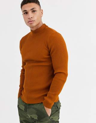 Asos Design DESIGN muscle fit ribbed turtle neck jumper in tan