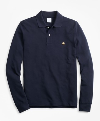 Brooks Brothers Slim Fit Supima Long-Sleeve Performance Polo Shirt-Basic Colors
