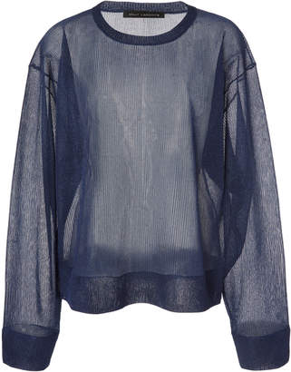 Sally LaPointe Boxy Long-Sleeve Metallic Mesh Top