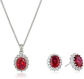 Swarovski Platinum Plated Sterling Silver Created Ruby with Accent Pendant Necklace and Earring Set