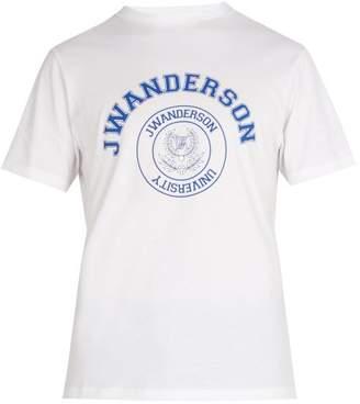 J.W.Anderson University Logo Print Cotton T Shirt - Mens - White