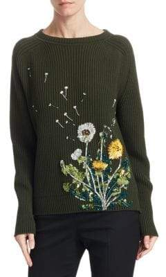 Oscar de la Renta Embellished Floral Pullover