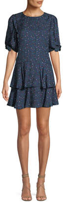 Rebecca Taylor Round-Neck Short-Sleeve Speckled-Dot Silk Mini Dress