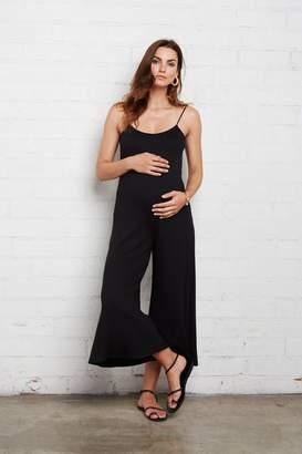Maternity Rib Victoria Jumpsuit - Black,