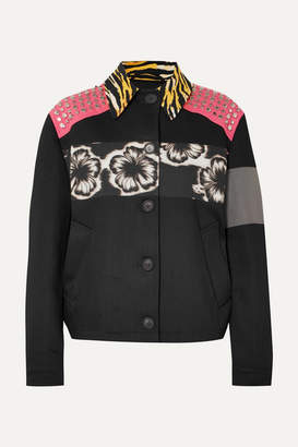 Prada Studded Printed Canvas And Denim Jacket - Black