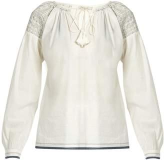 Mes Demoiselles Poppy smocked-shoulder cotton shirt