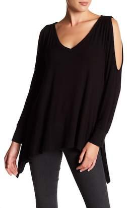 Caslon V-Neck Cold Shoulder Knit Tunic (Regular & Petite)