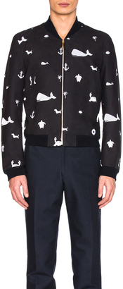 Thom Browne Front Zip Fun Mix Nubuck Bomber $4,300 thestylecure.com