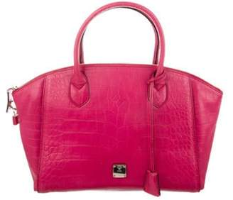 MCM Embossed Leather Tote Pink Embossed Leather Tote