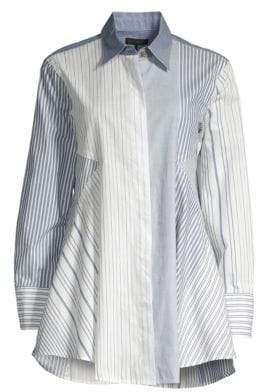 Donna Karan Pinstripe Cotton Trapeze Shirt