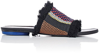Proenza Schouler Women's Fringed Raffia & Leather Slides $595 thestylecure.com