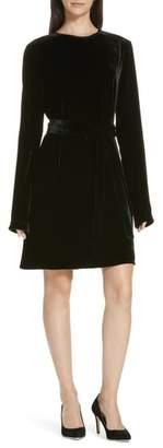 Theory Belted Crinkled Velvet Dress
