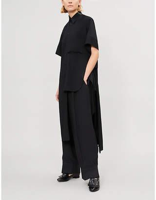Y's Ys Asymmetric wool-blend crepe shirt dress