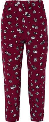 Marni Cropped Floral-print Silk-crepe Slim-leg Pants - Burgundy