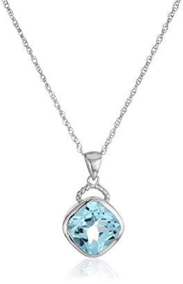 Sterling Silver Topaz Rope Detail Pendant Necklace