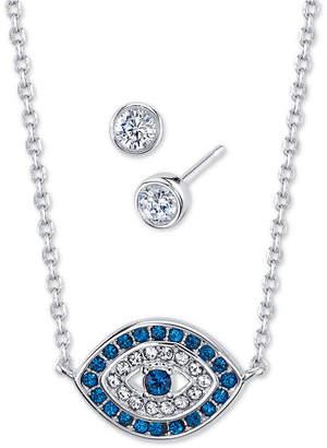 Unwritten 2-Pc. Set Cubic Zirconia Evil-Eye Pendant Necklace & Stud Earrings in Fine Silver-Plate