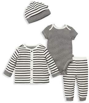 Offspring Baby Boy's Four-Piece Cotton Striped Bodysuit, Jacket, Pants and Hat Set