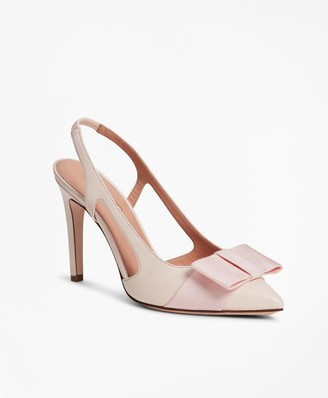 Brooks Brothers Grosgrain-Trimmed Leather Slingback Stiletto Pumps
