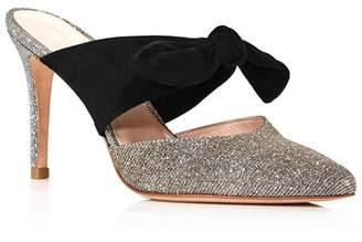 Loeffler Randall Women's Flora Pointed Toe Suede Bow High-Heel Mules