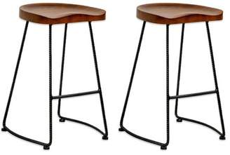 Mod Made Potter Wood Counter Stool with Rustic Metal Legs- Set of 2