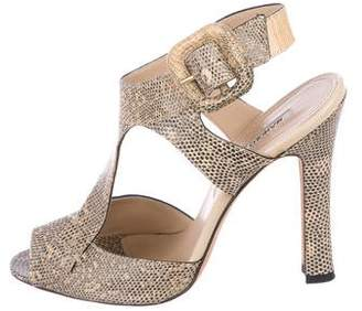 Manolo Blahnik Lizard T-Strap Sandals