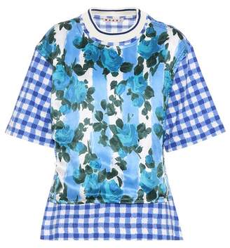 Marni Floral-printed and gingham T-shirt