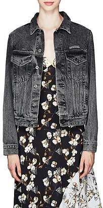 Off-White Women's Floral-Logo Denim Trucker Jacket - Dark Gray