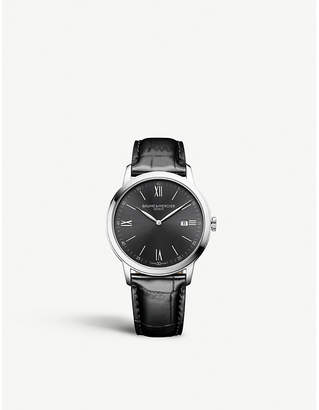 Baume & Mercier Leather and stainless steel black dial watch