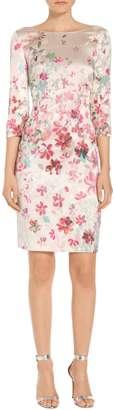 St. John Multi Color Brush Stroke Floral Print Dress