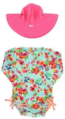 RuffleButts Painted Flowers One-Piece Rashguard Swimsuit & Reversible Sun Hat Set
