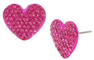 Betsey Johnson Fuchsia Heart Stud Earrings
